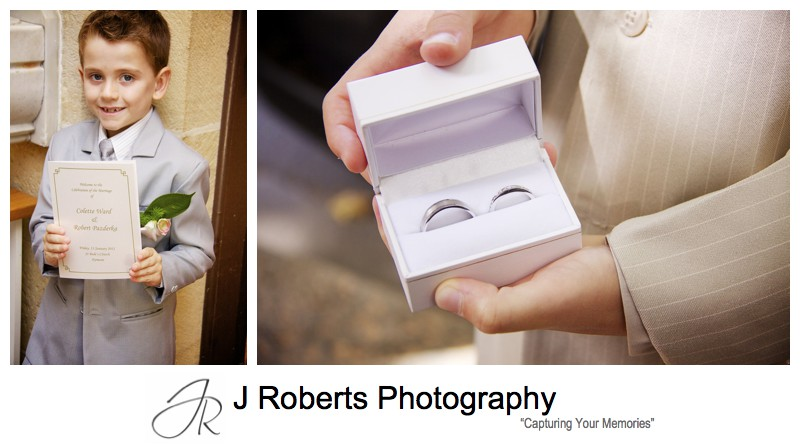 Pages boys with rings and order of service - wedding photography sydney