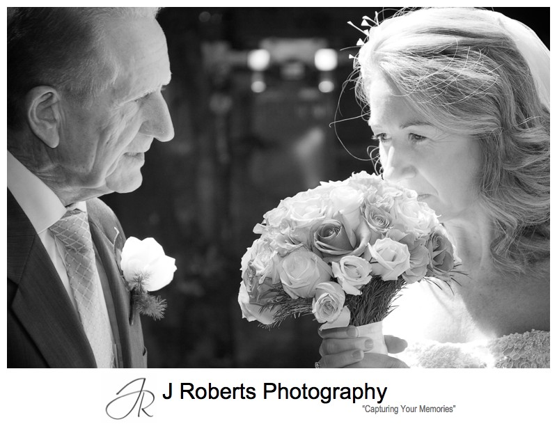Bride with her father before wedding - wedding photography sydney