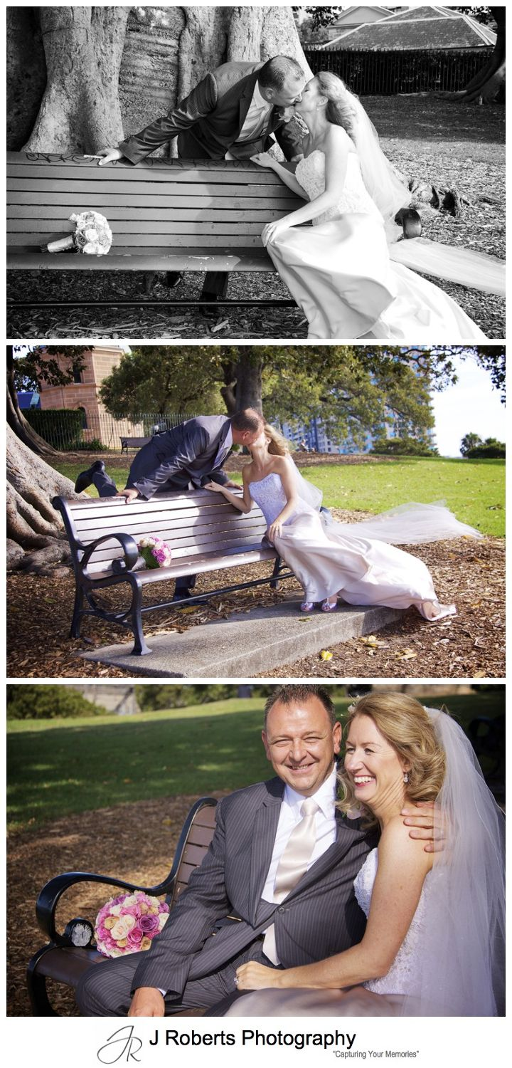 Couple kissing on park bench at Observatory Hill Sydney - wedding photography sydney