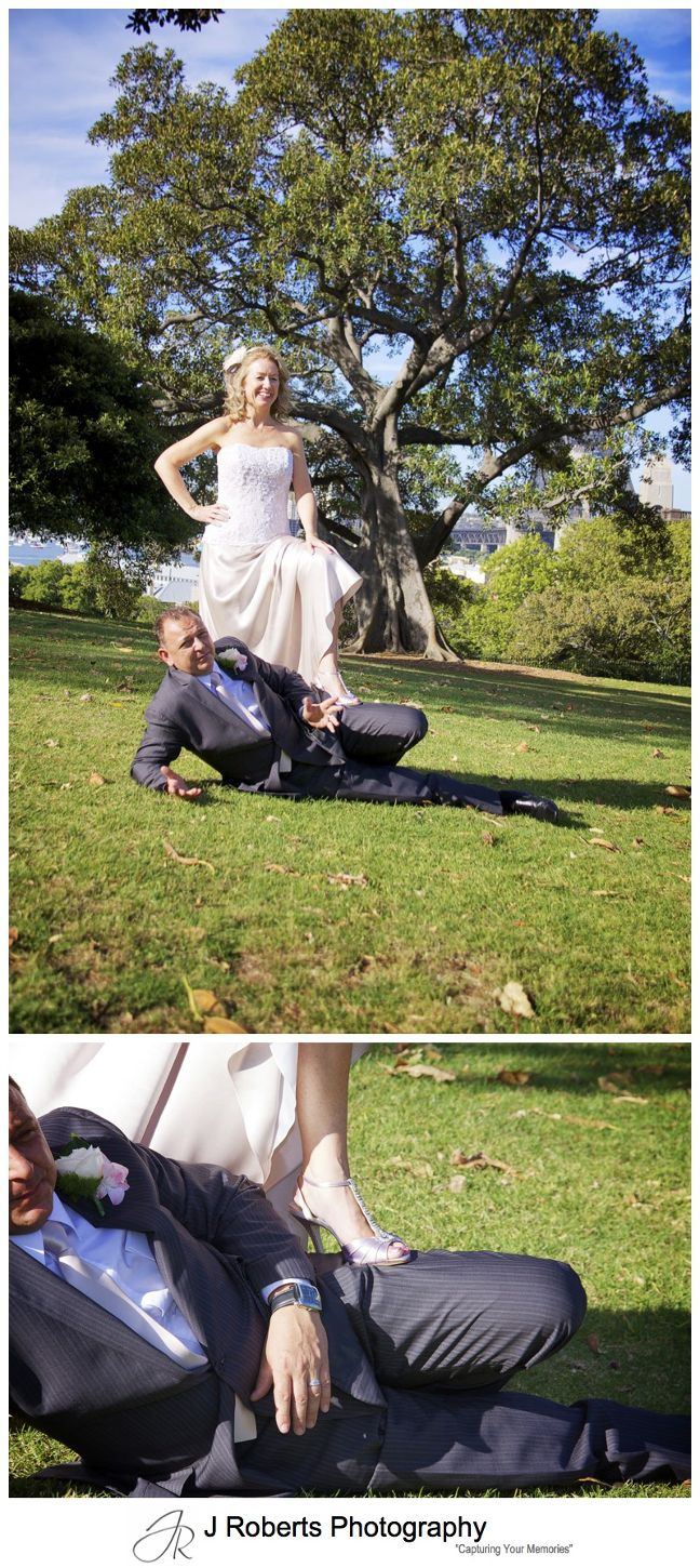 Bride in a moonlighting pose with groom - wedding photography sydney