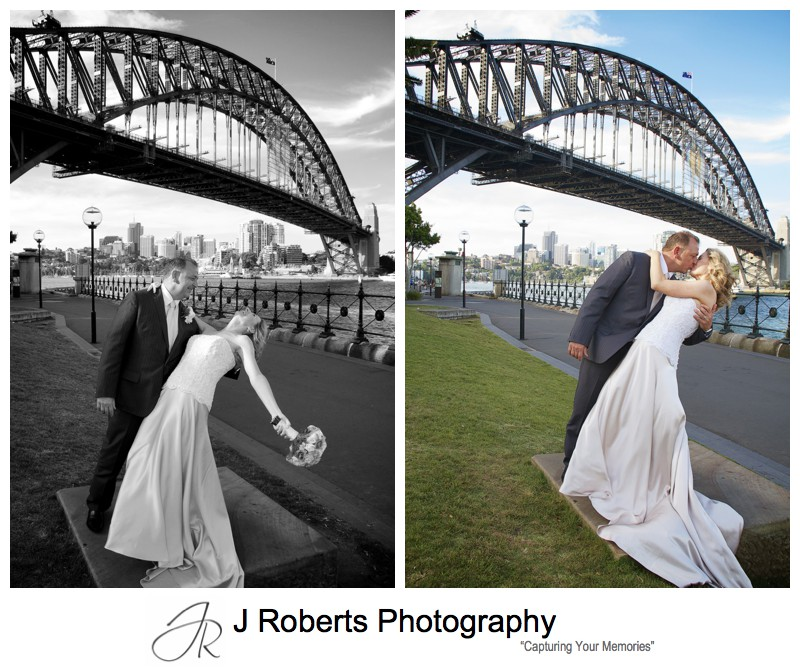 Couple dancing under the Sydney Harbour Bridge - wedding photography sydney