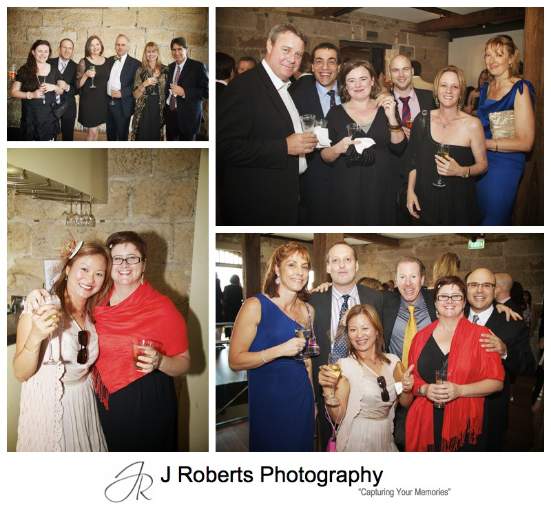 Guests at wedding reception at Wolfies The Rocks - wedding photography sydney