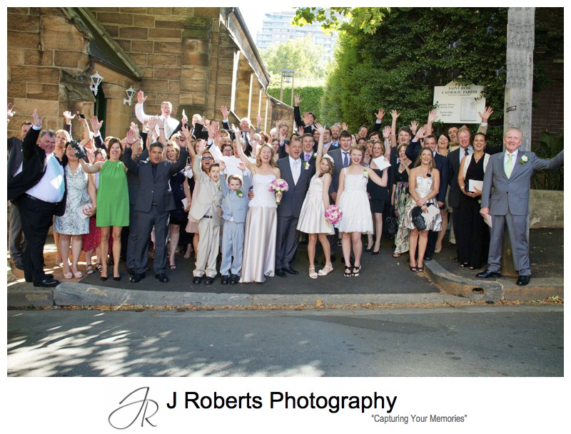 Whole group celebrating marriage - wedding photography sydney