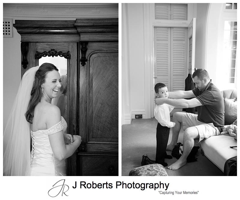 Bride and paige boys getting ready - wedding photography sydney