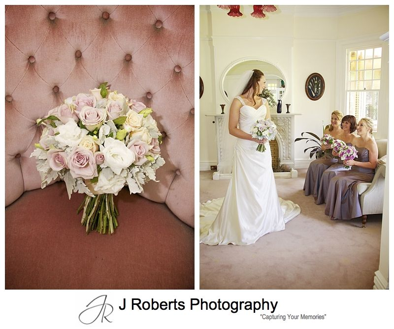 Bridal bouquet and bride with bridesmaids - wedding photography sydney