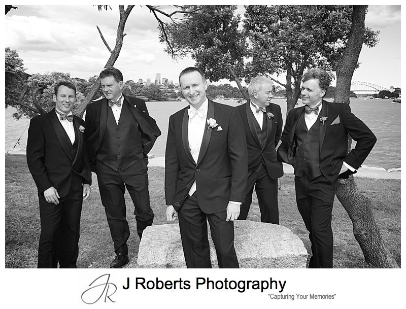 Groom with his groomsmen at Clarkes Point Reserve Woolwich - wedding photography sydney