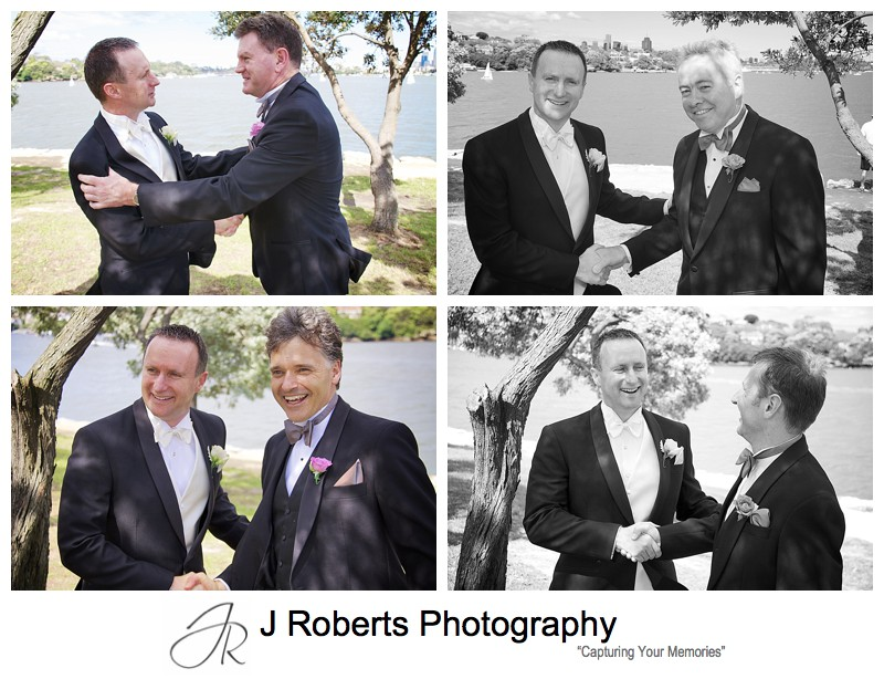 Groom being congratulated by his groomsmen - wedding photography sydney