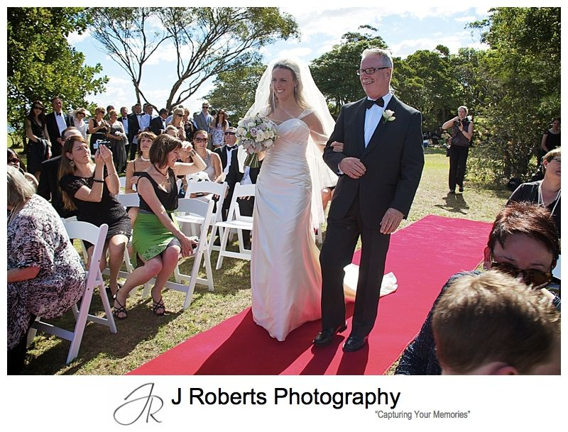 Bride walking down the aisle with her father - wedding photography sydney