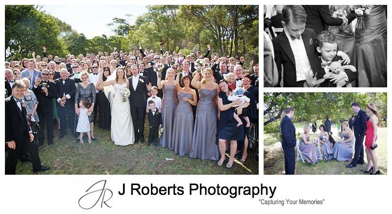 Guests celebrating with the couple after wedding ceremony at clarkes point woolwich - wedding photography sydney