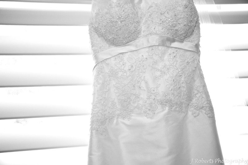 B&W photo of wedding dress lace detail - wedding photography sydney