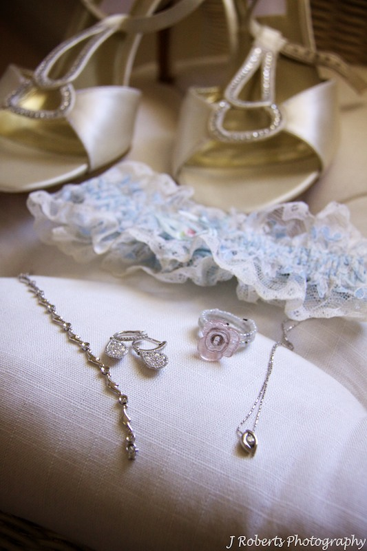 Brides jewellery, garter and shoes - wedding photography sydney