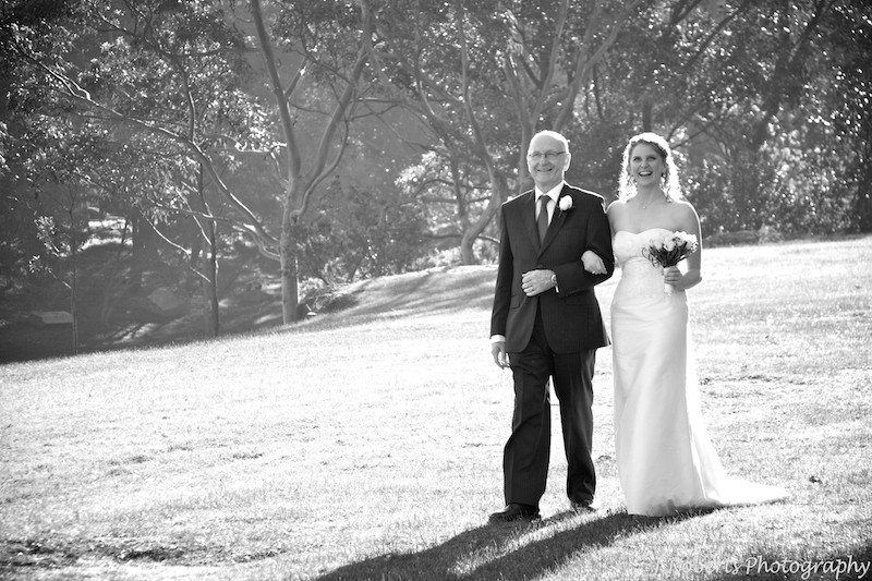 Bride and father walking to ceremony - wedding photography sydney