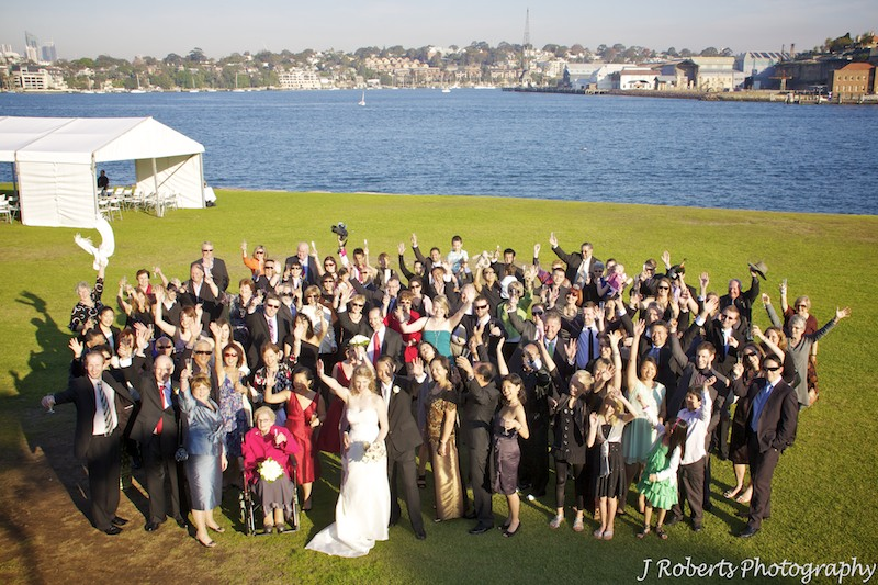 Group photo of wedding guests - wedding photography sydney