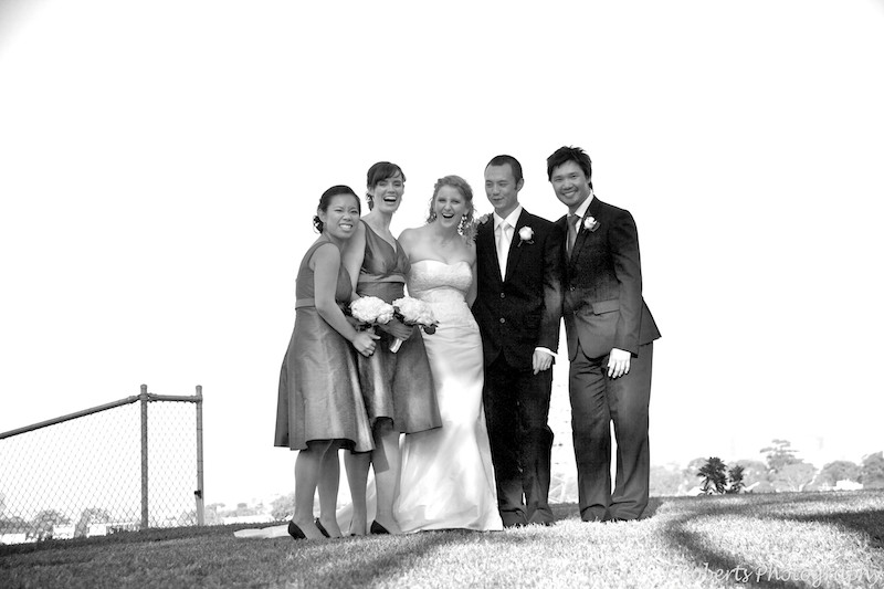 B&W of bridal party - wedding photography sydney