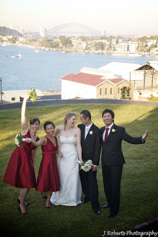 Bridal party having fun - wedding photography sydney