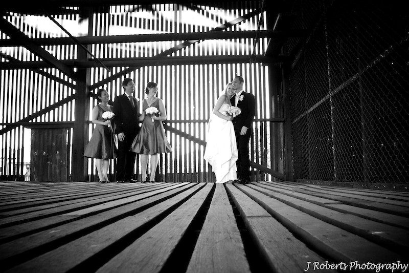 B&W bridal party in dry timber store Cockatoo Island - wedding photography sydney