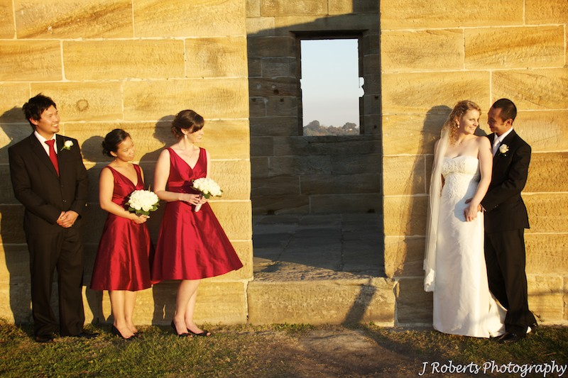 Bridal party at sandstone building Cockatoo Island Sydney - wedding photography sydney